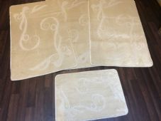 ROMANY GYPSY WASHABLES FULL SET OF MATS/RUGS 75X125CM SIZE NON SLIP LIGHT BEIGE